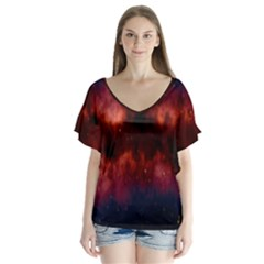 Astronomy Space Galaxy Fog V Neck Flutter Sleeve Top