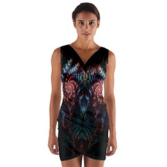 Abstract Background Texture Pattern Wrap Front Bodycon Dress