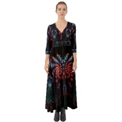 Abstract Background Texture Pattern Button Up Boho Maxi Dress