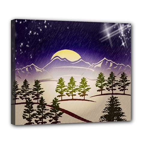 Background Christmas Snow Figure Deluxe Canvas 24  X 20