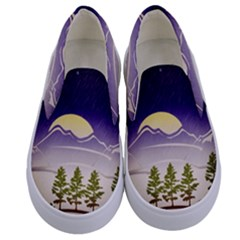 Background Christmas Snow Figure Kids  Canvas Slip Ons