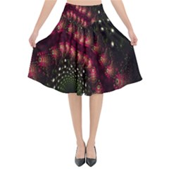 Background Texture Pattern Flared Midi Skirt