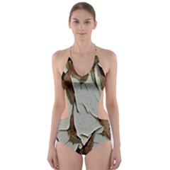Dry Nature Pattern Background Cut Out One Piece Swimsuit