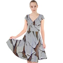 Dry Nature Pattern Background Cap Sleeve Front Wrap Midi Dress