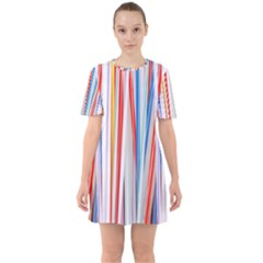 Background Decorate Colors Sixties Short Sleeve Mini Dress