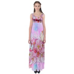 Nice Nature Flowers Plant Ornament Empire Waist Maxi Dress