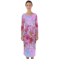 Nice Nature Flowers Plant Ornament Quarter Sleeve Midi Bodycon Dress