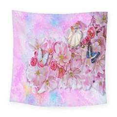 Nice Nature Flowers Plant Ornament Square Tapestry (large)