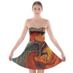 Creativity Abstract Art Strapless Bra Top Dress