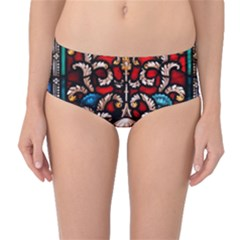 Decoration Art Pattern Ornate Mid Waist Bikini Bottoms