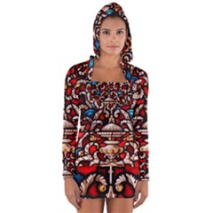 Decoration Art Pattern Ornate Long Sleeve Hooded T Shirt