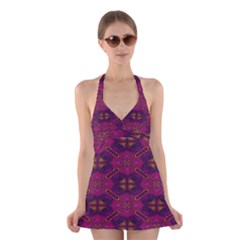 Pattern Decoration Art Abstract Halter Dress Swimsuit