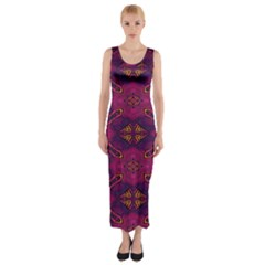 Pattern Decoration Art Abstract Fitted Maxi Dress