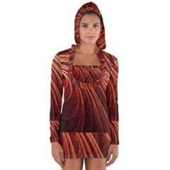 Abstract Fractal Digital Art Long Sleeve Hooded T Shirt