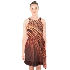 Abstract Fractal Digital Art Halter Collar Waist Tie Chiffon Dress