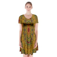 India Mystic Background Ornamental Short Sleeve V Neck Flare Dress