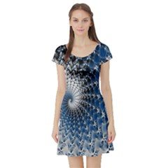 Mandelbrot Fractal Abstract Ice Short Sleeve Skater Dress