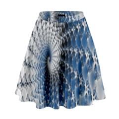 Mandelbrot Fractal Abstract Ice High Waist Skirt