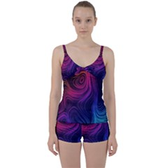 Abstract Pattern Art Wallpaper Tie Front Two Piece Tankini