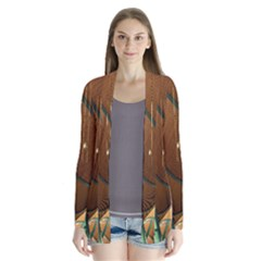 Airport Pattern Shape Abstract Drape Collar Cardigan