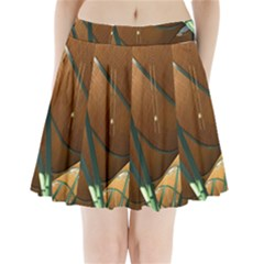 Airport Pattern Shape Abstract Pleated Mini Skirt