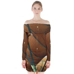 Airport Pattern Shape Abstract Long Sleeve Off Shoulder Dress