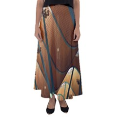 Airport Pattern Shape Abstract Flared Maxi Skirt