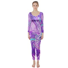 Abstract Art Texture Form Pattern Long Sleeve Catsuit