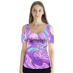Abstract Art Texture Form Pattern Butterfly Sleeve Cutout Tee