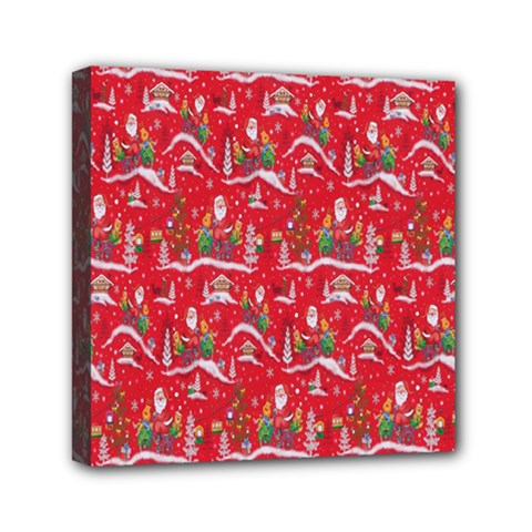 Red Background Christmas Canvas Travel Bag