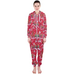Red Background Christmas Hooded Jumpsuit (ladies)