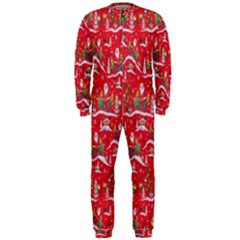 Red Background Christmas Onepiece Jumpsuit (men)