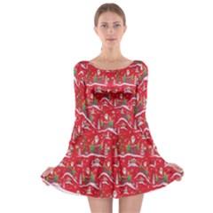 Red Background Christmas Long Sleeve Skater Dress