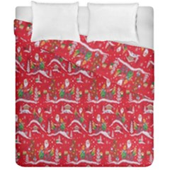 Red Background Christmas Duvet Cover Double Side (california King Size)