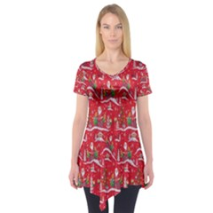 Red Background Christmas Short Sleeve Tunic