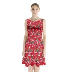 Red Background Christmas Sleeveless Waist Tie Chiffon Dress