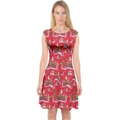 Red Background Christmas Capsleeve Midi Dress