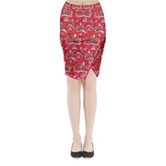 Red Background Christmas Midi Wrap Pencil Skirt
