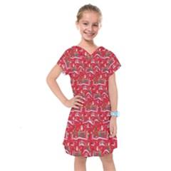 Red Background Christmas Kids  Drop Waist Dress