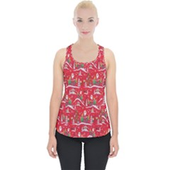 Red Background Christmas Piece Up Tank Top