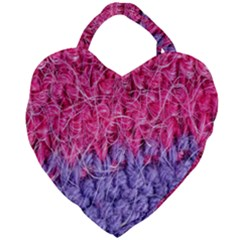 Wool Knitting Stitches Thread Yarn Giant Heart Shaped Tote