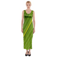 Leaf Plant Nature Pattern Fitted Maxi Dress