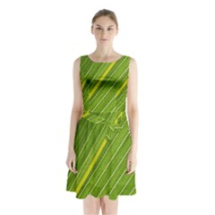 Leaf Plant Nature Pattern Sleeveless Waist Tie Chiffon Dress