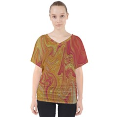 Texture Pattern Abstract Art V Neck Dolman Drape Top