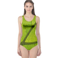 Green Leaf Plant Nature Structure One Piece Swimsuit