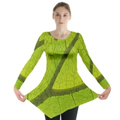 Green Leaf Plant Nature Structure Long Sleeve Tunic