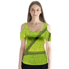 Green Leaf Plant Nature Structure Butterfly Sleeve Cutout Tee