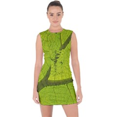 Green Leaf Plant Nature Structure Lace Up Front Bodycon Dress