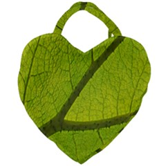 Green Leaf Plant Nature Structure Giant Heart Shaped Tote
