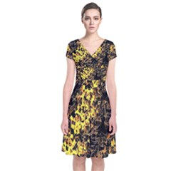 The Background Wallpaper Gold Short Sleeve Front Wrap Dress